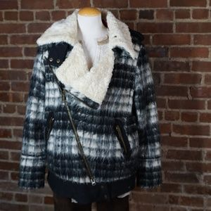 Free People Plaid and Fleece Bomber